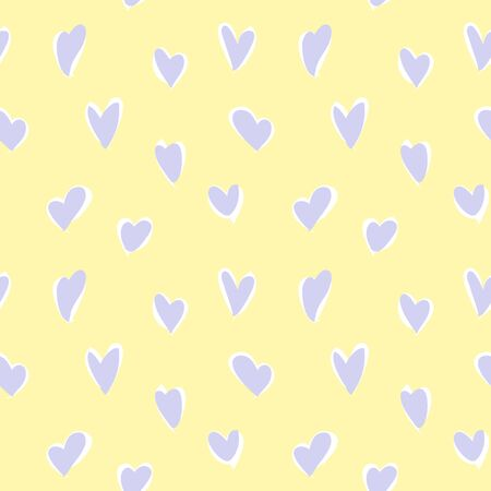 Yellow Heart shaped Valentine's Day seamless pattern background for fashion textiles, graphics