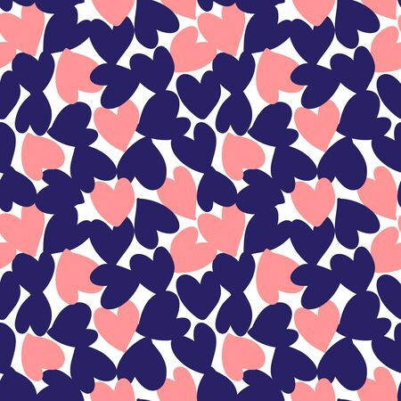 Blue Heart shaped Valentine's Day seamless pattern background for fashion textiles, graphics