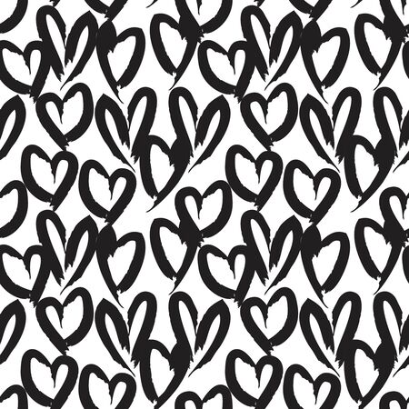 White Heart shaped Valentine's Day seamless pattern background for fashion textiles, graphics Ilustración de vector
