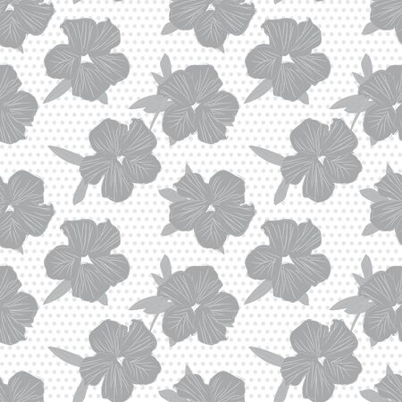 White Floral botanical seamless pattern with dotted background suitable for fashion prints, graphics, backgrounds and crafts