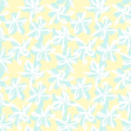 Yellow Floral brush strokes seamless pattern background for fashion prints, graphics, backgrounds and crafts Illustration