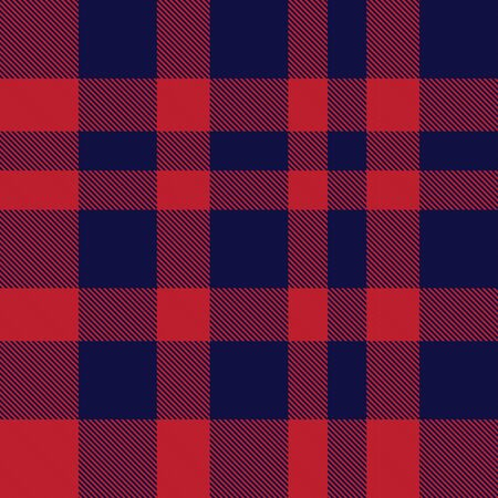Red and navy plaid, checkered, tartan seamless pattern suitable for fashion textiles and graphics