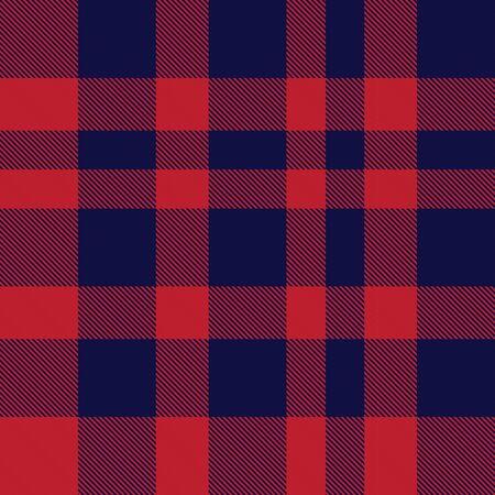 Rotes und marineblaues kariertes, kariertes, nahtloses Tartanmuster, geeignet für Modetextilien und Grafiken