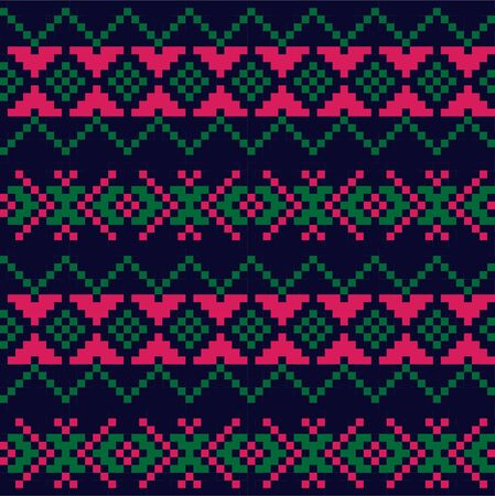 Purple Christmas fair isle pattern background for fashion textiles, knitwear and graphics