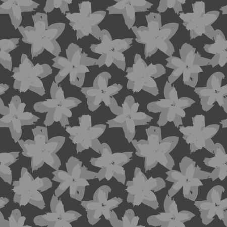 Grey Floral brush strokes seamless pattern background for fashion prints, graphics, backgrounds and crafts