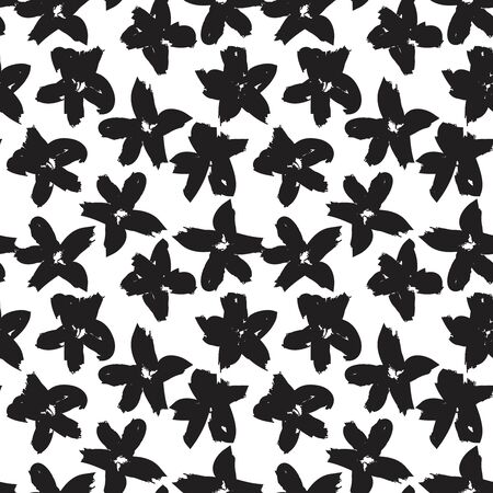 White Floral brush strokes seamless pattern background for fashion prints, graphics, backgrounds and crafts