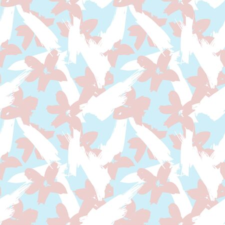 Sky Blue Floral brush strokes seamless pattern background for fashion prints, graphics, backgrounds and crafts Vettoriali