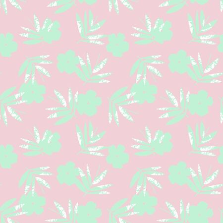Pink Tropical Leaf botanical seamless pattern background suitable for fashion prints, graphics, backgrounds and crafts