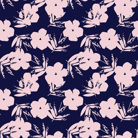 Pink and Navy Tropical Leaf botanical seamless pattern background suitable for fashion prints, graphics, backgrounds and crafts