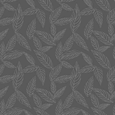 Grey Tropical Leaf botanical seamless pattern background suitable for fashion prints, graphics, backgrounds and crafts