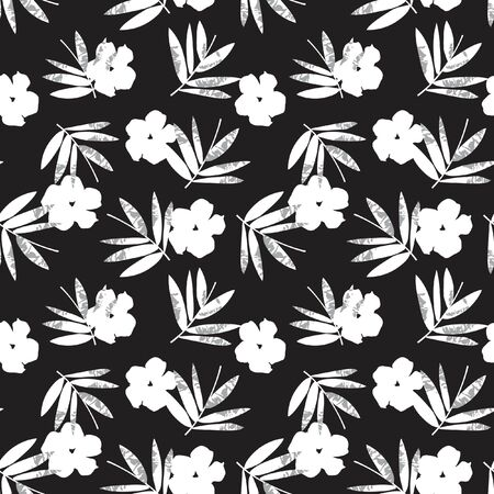 Black and White Tropical Leaf botanical seamless pattern background suitable for fashion prints, graphics, backgrounds and crafts 向量圖像