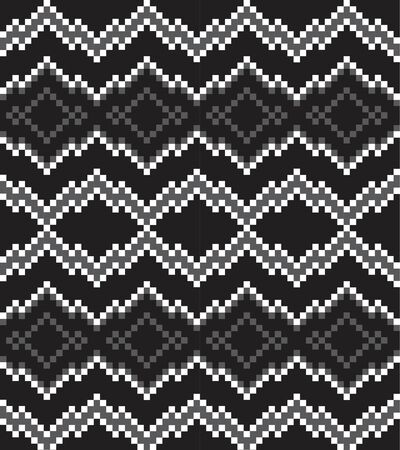 Black and White Christmas fair isle pattern background for fashion textiles, knitwear and graphics  イラスト・ベクター素材