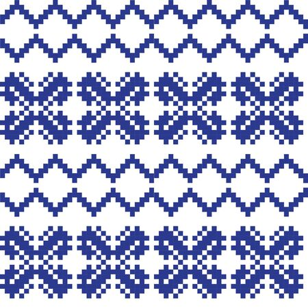 Blue Christmas fair isle pattern background for fashion textiles, knitwear and graphics  イラスト・ベクター素材