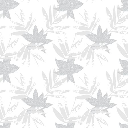 White Tropical Leaf botanical seamless pattern background suitable for fashion prints, graphics, backgrounds and crafts