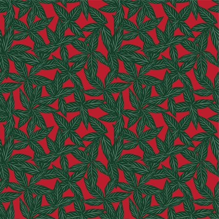 Christmas Tropical Leaf botanical seamless pattern background suitable for fashion prints, graphics, backgrounds and crafts