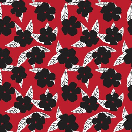 Red Tropical Leaf botanical seamless pattern background suitable for fashion prints, graphics, backgrounds and crafts