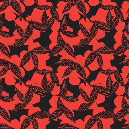 Orange Tropical Leaf botanical seamless pattern background suitable for fashion prints, graphics, backgrounds and crafts
