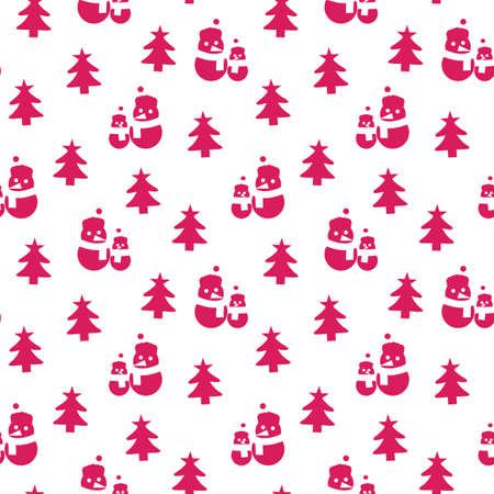 Purple Christmas Snowman seamless pattern background for website graphics, fashion textile Иллюстрация