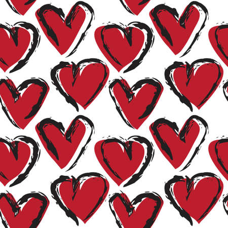 Red Heart shaped seamless pattern background for fashion textiles, graphics