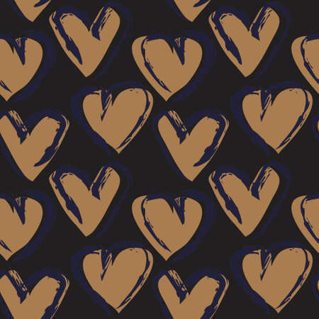 Brown Heart shaped brush stroke seamless pattern background for fashion textiles, graphics