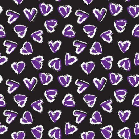 Purple Heart shaped brush stroke seamless pattern background for fashion textiles, graphics