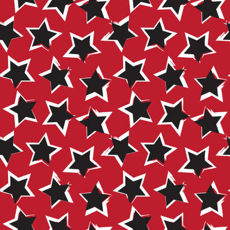 Red Stars brush stroke seamless pattern background for fashion textiles, graphics
