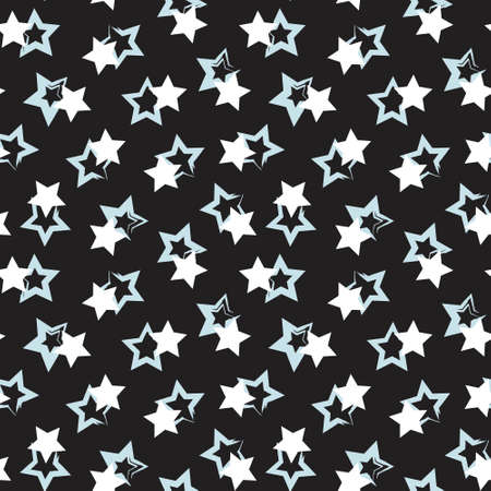 Sky Blue Stars brush stroke seamless pattern background for fashion textiles, graphics