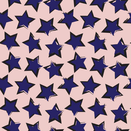 Pink Navy Stars brush stroke seamless pattern background for fashion textiles, graphics