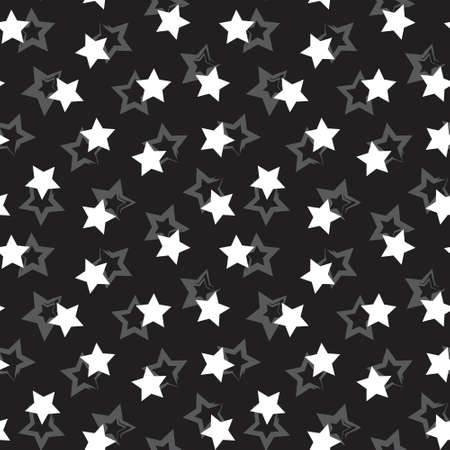 Black and White Stars brush stroke seamless pattern background for fashion textiles, graphics