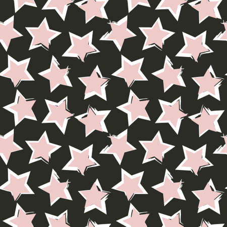 Pink Stars brush stroke seamless pattern background for fashion textiles, graphics