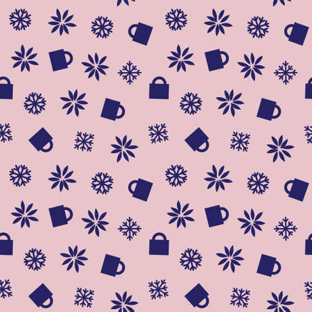 Christmas Pink Navy Holiday seamless pattern background for website graphics, fashion textiles