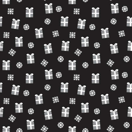 Christmas Black and White Holiday seamless pattern background for website graphics, fashion textiles