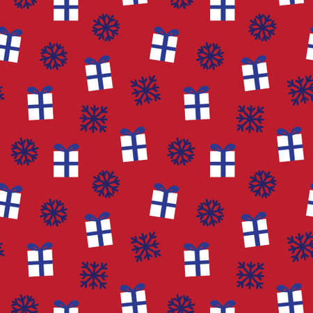 Christmas Red Navy Holiday seamless pattern background for website graphics, fashion textiles