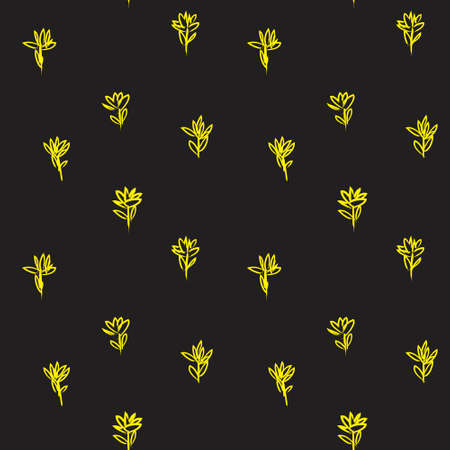 Yellow Floral brush strokes seamless pattern background for fashion prints, graphics, backgrounds and crafts 일러스트