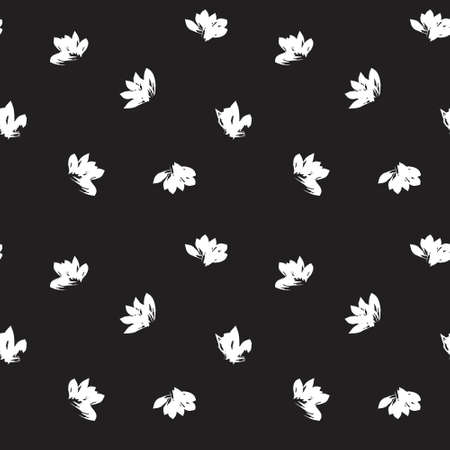 Black and White Floral brush strokes seamless pattern background for fashion prints, graphics, backgrounds and crafts 일러스트
