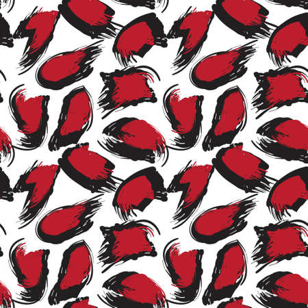 Red Brush Stroke Camouflage abstract seamless pattern background suitable for fashion textiles, graphics  イラスト・ベクター素材