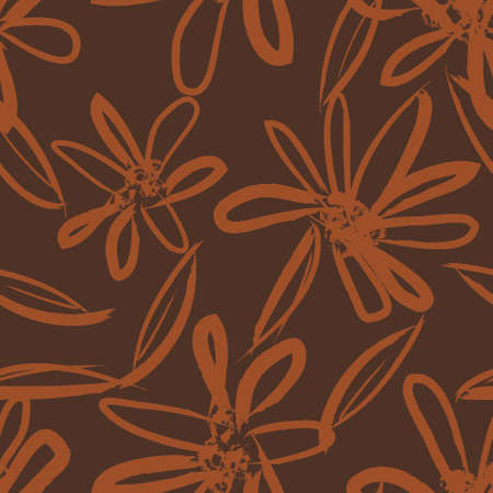 Orange Floral brush strokes seamless pattern background for fashion prints, graphics, backgrounds and crafts