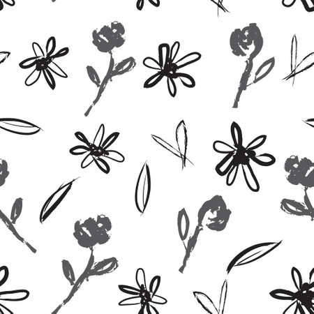 White Floral brush strokes seamless pattern background for fashion prints, graphics, backgrounds and crafts Vettoriali