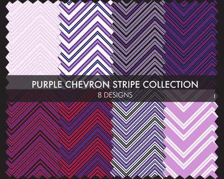 Purple Chevron striped seamless pattern collection includes 8 designs for fashion textiles, graphics