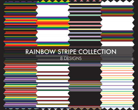 Rainbow striped seamless pattern collection includes 8 design swatches for fashion textiles, graphics