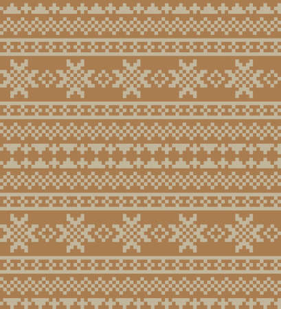 Brown Christmas fair isle pattern background for fashion textiles, knitwear and graphics