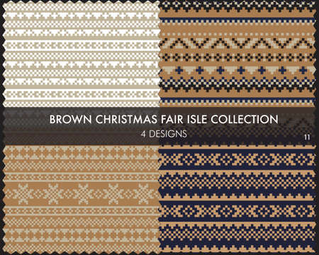 Brown Christmas fair isle pattern collection includes 4 design swatches for fashion textiles, knitwear and graphics