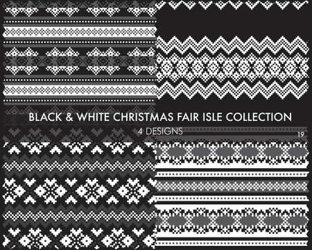 Black and White Christmas fair isle pattern collection includes 4 design swatches for fashion textiles, knitwear and graphics