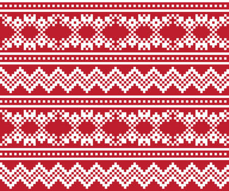 Red Christmas fair isle pattern background for fashion textiles, knitwear and graphics Vecteurs