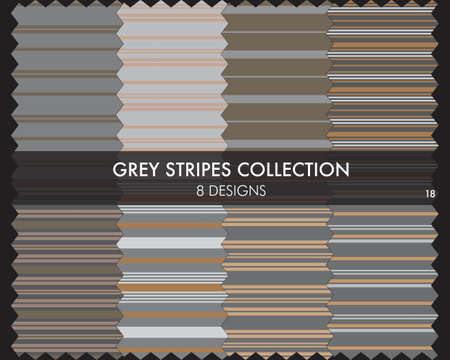 Grey striped seamless pattern collection includes 8 designs for fashion textiles, graphics