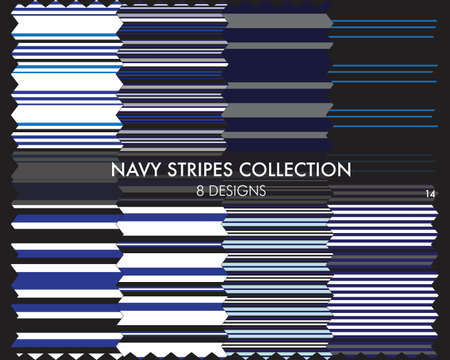 Navy striped seamless pattern collection includes 8 designs for fashion textiles, graphics