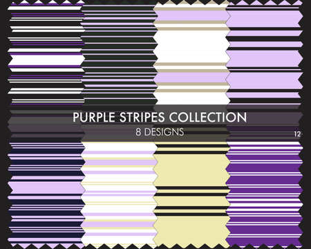 Purple striped seamless pattern collection includes 8 designs for fashion textiles, graphics