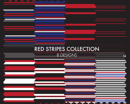 Red striped seamless pattern collection includes 8 designs for fashion textiles, graphics