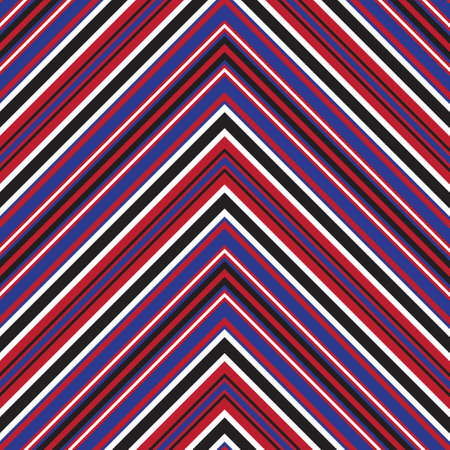 Red and Blue Chevron diagonal striped seamless pattern background suitable for fashion textiles, graphics Vector Illustration