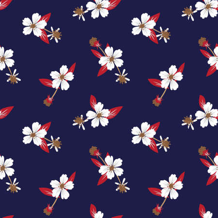 Blue tropical floral botanical seamless pattern background suitable for fashion prints, graphics, backgrounds and crafts Vektorgrafik